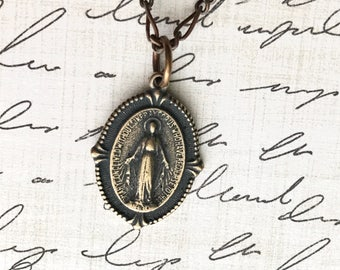 Miraculous Medal Necklace - Blessed Mother Necklace - Made in the USA
