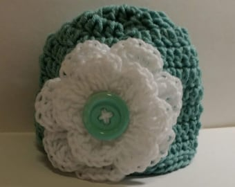 Aqua Beanie Hat with flower button, crochet, colorful, white, large flower, white, green, warm, weather, cold, snow, messy bun hat
