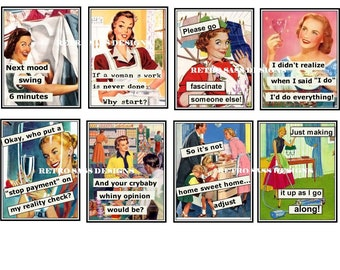 new RETRO ladies with attitude and sassy sayings large TAGS-JOURNAL cards set of 8 2.5X3ish