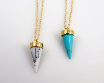 Turquoise spike necklace, white marble spike necklace, mini tooth necklace, long spike necklace, layering necklace