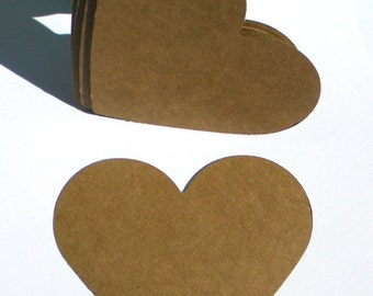 "150 3"" paper hearts - kraft brown hearts - die cut hearts - use for paper banners - favor tags - sale tags"