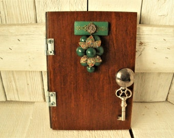 Bamboo fairy door upcycled vintage findings magic fantasy wall art