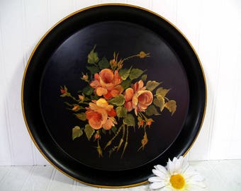 Round Black Tray Hand Painted Floral ToleWare Metal Vintage Shabby Chic Peachy Pink Blush Color Roses Chippy Paint Signed Decorator Platter