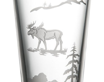 Moose, 16oz Glass, etched (Sandblasted), Original Design