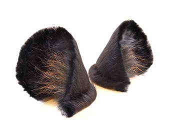 Panther Black Big Cat Ears Fur and Leather Cosplay Furry Anthro Fairy Fantasy LARP Costume Nekomimi