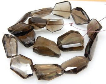 Smokey Quartz Flate Nuggets Faceted Tumble  Beads AAA Quality  14'' Huge Size 8x17MM To 20x20 MM Approx - 308Ct Wholesale Price