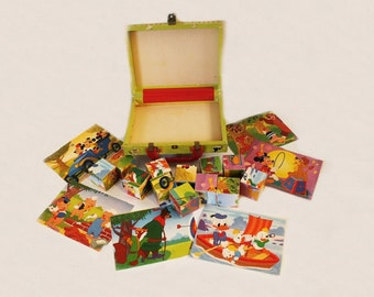 Antique 1960s Disney Changeable Picture Blocks in Case, Pinocchio, Mickey Mouse, Robin Hood, Child Toy, Puzzle Blocks, Made in Germany