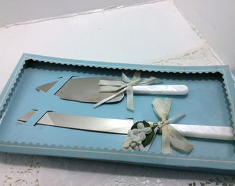 Wedding knife set, vintage new in box
