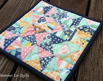 Mini Quilt Potholder - Modern Hot Pad- Pink, Navy, Teal, Yellow Quilted Pot Holder - Patchwork Trivet - Ready to Ship