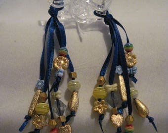 Hair Clips with Ribbons and Beads....set of 2....hand made...clear / Dk. Blue