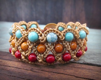 Beaded Crochet Cuff Bracelet, Rustic Red and Turquoise, Country Boho Chic Jewelry