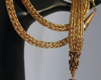 Lanyard - Break Away, 2-Wire Viking Knit of Copper and Brass with Copper Components (L-329)
