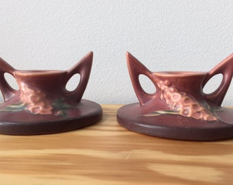 Roseville Pottery Foxglove Candle Holders MINT!