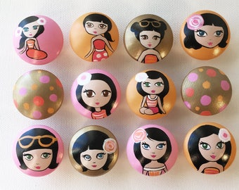Gold Drawer Pulls / Gold Drawer Knobs/Doll Dresser Knobs / Closet Handles / Hand Painted for Girls, Kids, Nursery Rooms