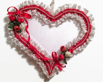 Red And White Vintage Heart, Vintage Valentine's Day Decor, Home Decor, Valentine's Day, Vintage Decor