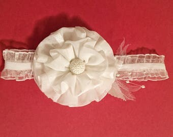 White Flower Baby Headband, Baby Headband, Flower Headband, Fabric Flower
