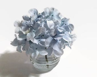Single Blue Hydrangea In A Clear Bowl Vase,  Powder Blue Hydrangea, Hydrangea Arrangement, Home Decor, Floral Decor, Blue Decor