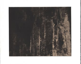 "CIJ SALE  - 50% OFF. use code { CIJSALE50} Black, Gray +Tan. Abstract Landscape: ""Either/ Or 6"". Size 11"" x 13"". unframed"