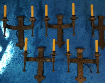 Spanish revival / French gothic hand forged iron sconces set of five with original hardware
