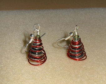 Coiled Christmas tree earrings in red/womens pierced christmas tree earrings/red christmas tree earrings/pierced earrings/christmas trees