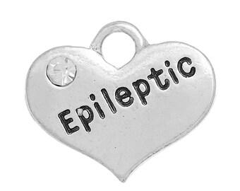 "1 Antique Silver Rhinestone ""Epileptic"" Heart Charm Pendant 16x14mm  chs2706"