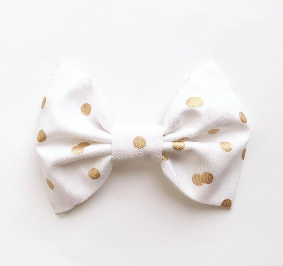 XL Bow Tie Headband or Clip White & Gold Dots Striped - XLarge Bow Tie Headband - girl, baby, toddler, woman, bow, jewel tones
