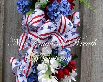 Patriotic Wreath, Fourth of July Wreath, Memorial Day Swag, Summer Floral, 4th of July Swag, Elegant Patriotic Swag, Americana Wreath