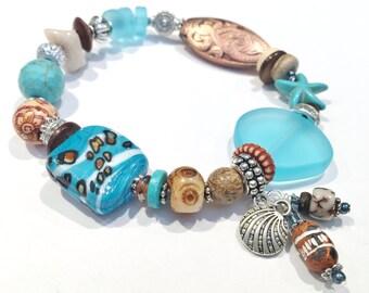 Starfish Bracelet, Starfish Jewelry, Gifts for Her Under 30, Beachy Bracelets, Beach Glass Bracelet, Sea Glass Bracelet, Beach Lovers Gift
