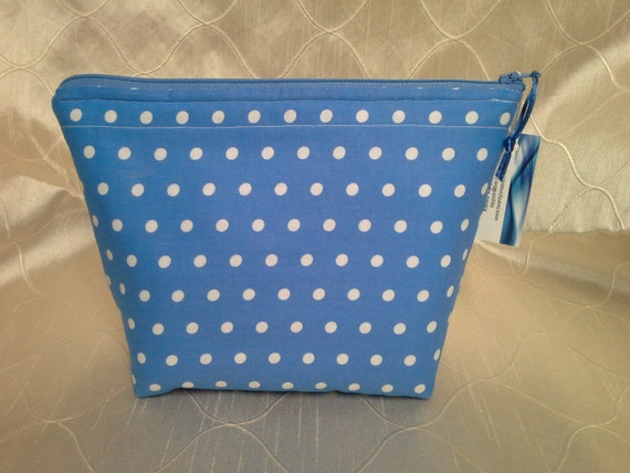Blue and White Polka Dot Essential Oil Bottle Zippered Pouch