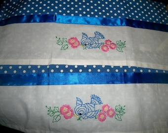 Hand embroidered tea towels, bluebirds and polka dots, set of two