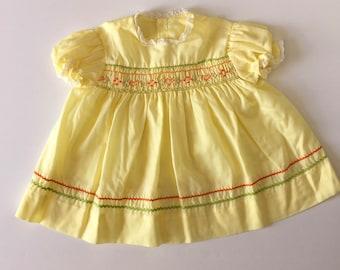 Vintage Yellow RiC Rac Smocked Dress (18 months)
