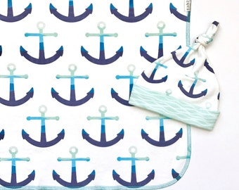 Modern Anchors Organic Cotton Baby Hat, Boy Newborn Top Knot Hat, Nautical Ocean Beanie, Navy Blue Baby Shower Gift, Beach Gift for Mom