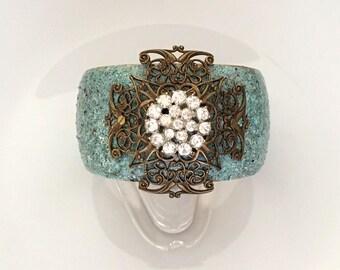 Rhinestone Wrist Cuff Bracelet - Unique Handmade Mixed Media Bracelet - Turquoise Blue Bracelet - Gift for Wife Enamel Rhinestone Bracelet