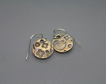 Bronze Earrings, Circle Earrings, Textured Earrings, Mixed Metal Jewelry, Drop Earrings, Everyday Earrings, Brass Earrings, Easter Earrings