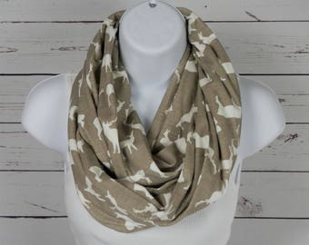 ORGANIC Cotton Infinity Scarf  / Woodland Deer Scarf / Beige, Tan with White Deer / Soft, Organic Jersey Knit Scarf / by Thimbledoodle
