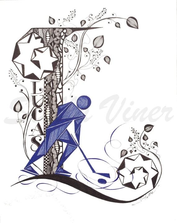 Custom Hand Drawn Original  Monogram Letter O - 11x14  wall decor, wall art by Stella Viner