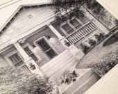 Reserved for Lauren - CUSTOM House Drawing, Charcoal Landscape, Housewarming Gift, Family Gift, Special Gift, Anniversary Birthday Gift