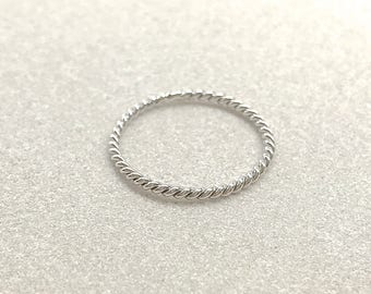Silver Twisted Wire Stacking Ring