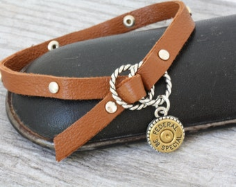 Choice 38 Spl Bullet Bracelet-Winchester 38 Spl Leather Bracelet-Federal 38 Spl-RP 38 Spl Bracelet-Federal 38 Bracelet-Horandy 38 Bracelet
