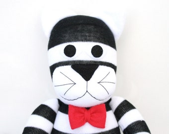 Clancy the Sock Cat - black and white stripes - *READY TO SHIP*