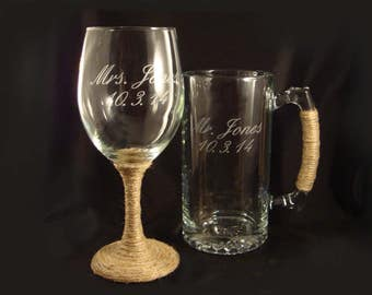 Etched Personalized Wine Glass and Mega Mug - Custom Barware - Birthday Gift - Anniversary Gift - Custom Designed Wine Glass - Custom Beer