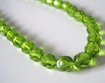 30 Preciosa Green Olivine Transparent Faceted 6mm Fire Polished Beads