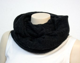 Charcoal Onyx Mohair Cowl - Fluffy, Soft & Warm ONLY ONE!
