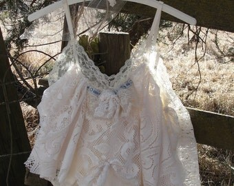 Shabby lace cami or lingerie, shabby gypsy, faery, whimsy, vintage lace, french chic market, ooak