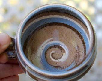 Blue Swirl Agateware Pottery Teacup