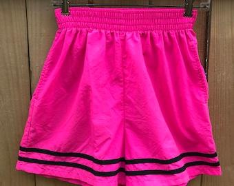 Vintage 80s Hot Pink Nylon Shorts / Neon Pink Parachute Shorts Circa 90s Size Small