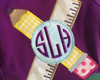 Personalized/ monogrammed School/teacher pencil and ruler appliqued shirt