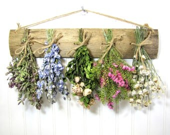 Dried Flower Rack, Dried Floral Arrangement, Rustic Drying Rack for Flowers and Herbs, Wall Decor