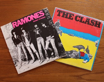 Ramones Rocket to Russia and The Clash Give Em Enough Rope - Two Vinyl LPs from the 70s