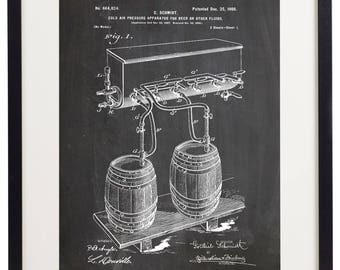 Set of 6 Prints Beer Brewing Patent Vintage Home Decor Wall Art Print
